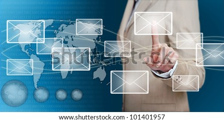 businesswoman hand pressing email letter on a touch screen interface
