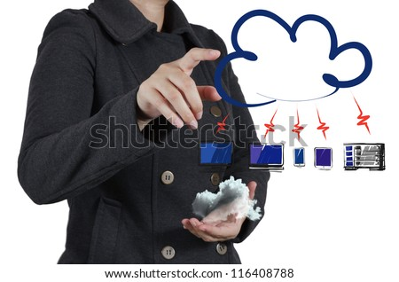 businesswoman hand touch a cloud network concept - stock photo