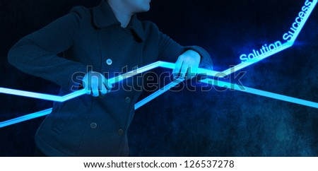 businesswoman hand working with new interface computer graph as concept