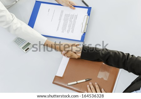 Businesswoman handshaking for the deal - stock photo
