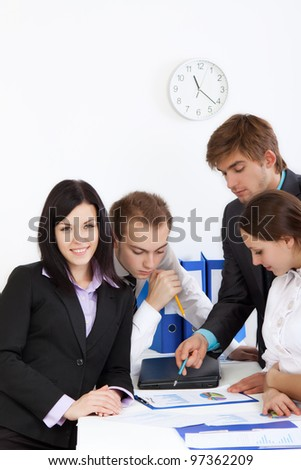 businesswoman happy smile, young business people working on project in team together, discussing the financial diagram, graph, business charts, businesspeople meeting at desk office - stock photo