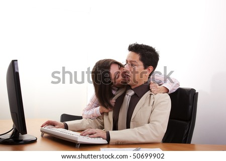 businesswoman harassment at her partner pushing his necktie