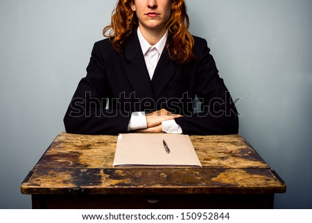 Businesswoman has closed a deal - stock photo