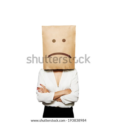 businesswoman have a bad mood. isolated on white background - stock photo