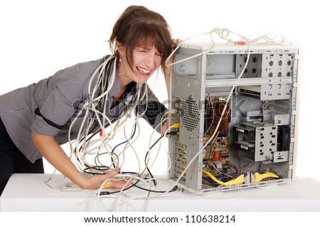 businesswoman having many problems with computer