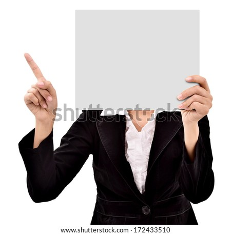 businesswoman hiding her face behind a blank paper, isolated on white background