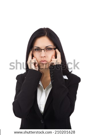 Businesswoman hold hands on temples head, business woman wear eye glasses stressed, headache, depressed, pain, isolated over white background - stock photo