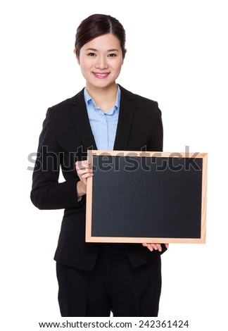 Businesswoman hold with chalkboard