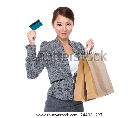 Businesswoman hold with shopping bag and credit card