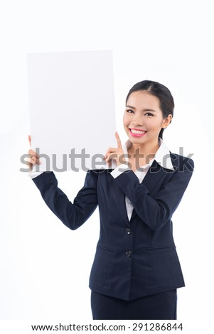 Businesswoman hold with white card board - stock photo