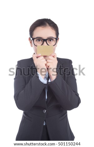 Businesswoman holding a blank card white background
