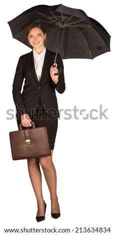 Businesswoman holding a briefcase and umbrella - stock photo