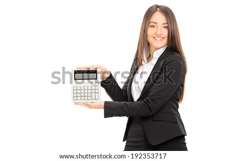 Businesswoman holding a calculator isolated on white background
