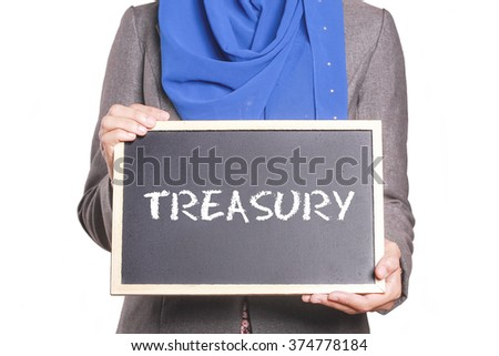 Businesswoman holding a chalk board written Treasury - stock photo