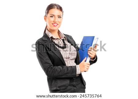 Businesswoman holding a folder with documents isolated on white background