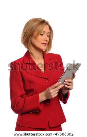 Businesswoman holding an e-book isolated over a white background - stock photo