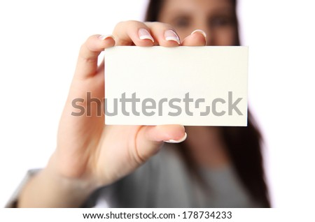 businesswoman holding blank business card isolated on white background