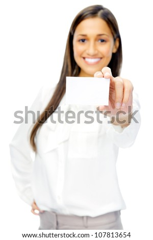 Businesswoman holding blank business card or empty sign with copyspace. isolated on white background. - stock photo