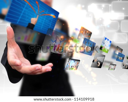 businesswoman holding business collection - stock photo