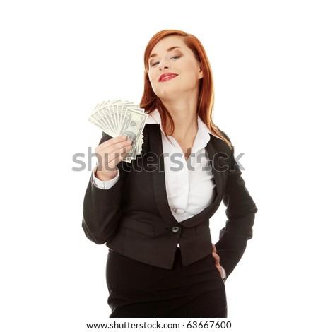 Businesswoman holding dollars, isolated on white - stock photo