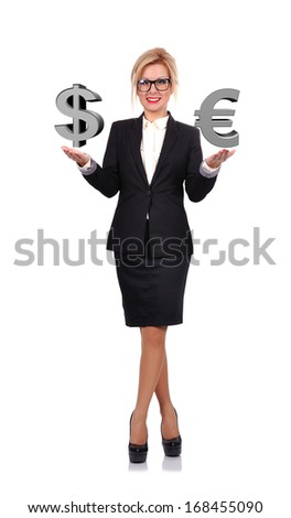 businesswoman holding euro and dollar  symbol on a white background - stock photo