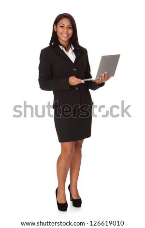 Businesswoman Holding Laptop. Isolated on white background - stock photo