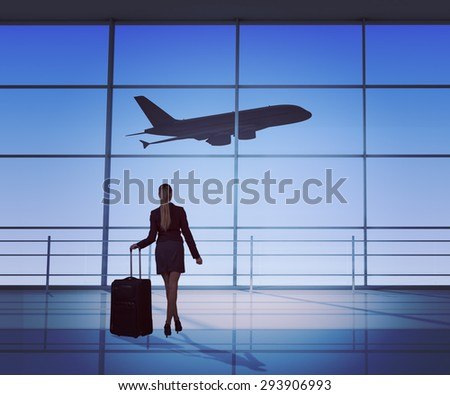 Businesswoman holding luggage looking at jet, back view. Interior view