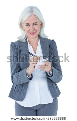 businesswoman holding notebook on white background