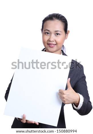Businesswoman holding white blank card