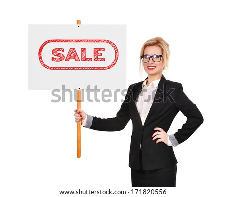 businesswoman holding whiteboard with sale on a white background
