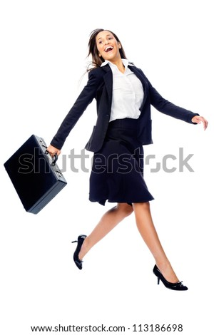 Businesswoman in a hurry rushing and running with briefcase isolated on white background - stock photo
