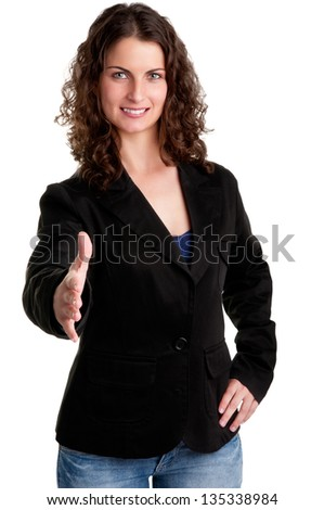 Businesswoman, in a suite, ready to give an handshake, isolated in white - stock photo