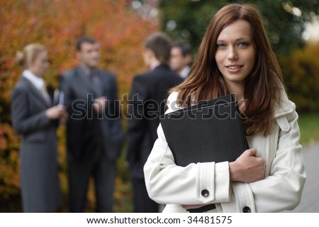 Businesswoman in an outdoor environment - stock photo
