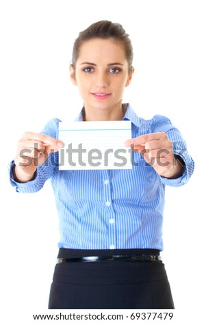 businesswoman in blue shirt shows empty card, focus on card and hands, isolated on white - stock photo