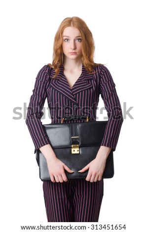 Businesswoman in business concept isolated on white - stock photo