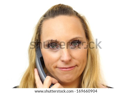 businesswoman in call center isolated