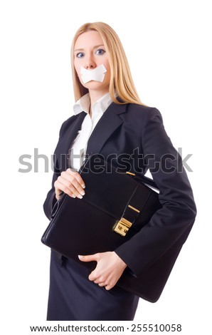 Businesswoman in censorship concept isolated on white - stock photo