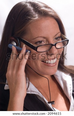 Businesswoman in glasses with Headset