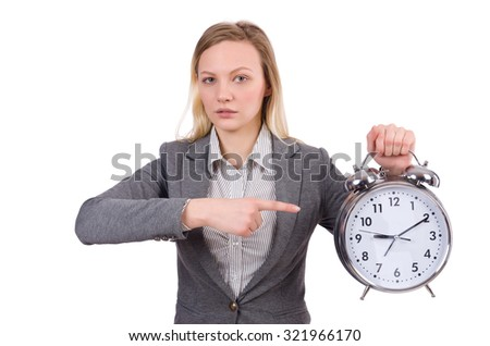 Businesswoman in gray suit holding alarm clock isolated on white - stock photo