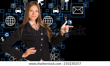 Businesswoman in suit and application icons