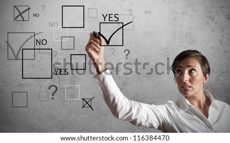Businesswoman in trouble with the exams - stock photo