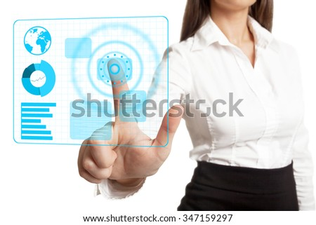 Businesswoman in white blouse pressing something on touch screen