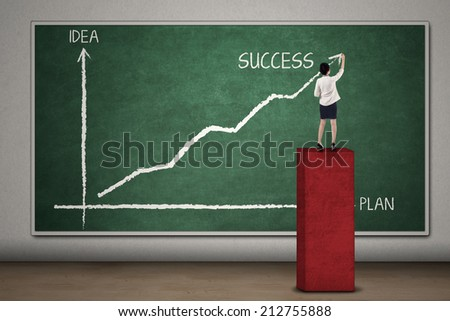 Businesswoman is standing on chart while drawing an arrow to success on the blackboard