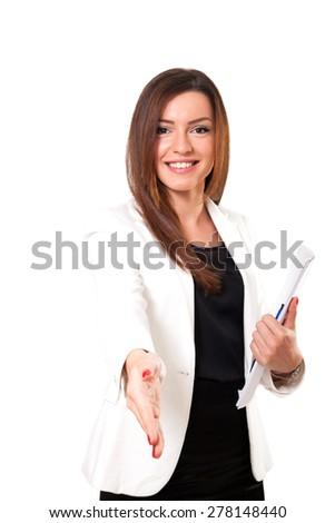 Businesswoman isolated on white background - stock photo