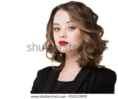 Businesswoman isolated on white background. Caucasian business woman in suit standing looking at camera - stock photo