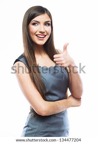 Businesswoman isolated on white background show thumb up - stock photo