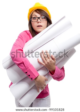 Businesswoman. Isolated over white. - stock photo