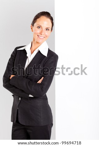 businesswoman lean on white board