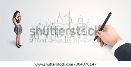 Businesswoman looking at hand drawn city on wall concept on background