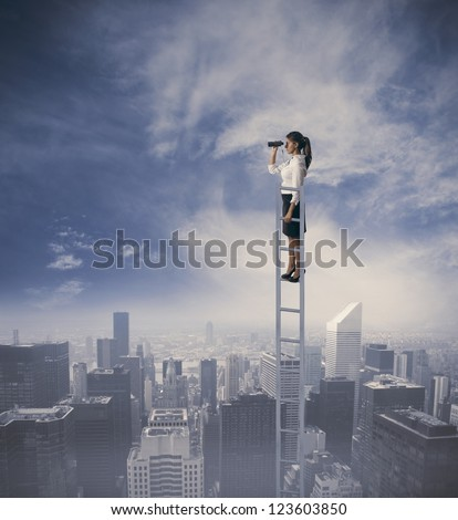 Businesswoman looking for new job opportunities - stock photo